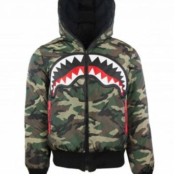 Reversible Camo Shark Down Coat | Sprayground Backpacks, Bags, and Accessories