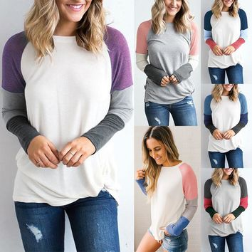 Winter Women's Fashion Round-neck Long Sleeve Tops T-shirts [1890289352801]