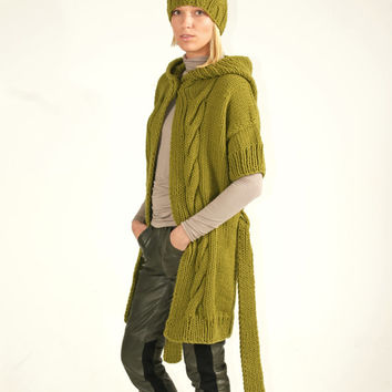 PDF pattern. Hand knitted hooded short sleeve cardigan and hat. Digital pattern from Ilze Of Norway.