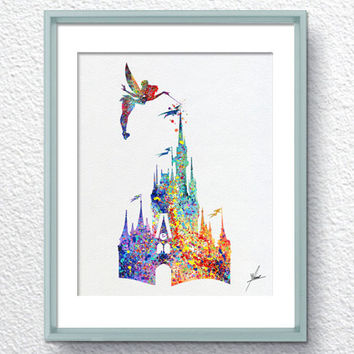Cinderella Princess Story Inspired Watercolor Print Wall Decor Home Decor Birthday Gift Disney Inspired Item 039
