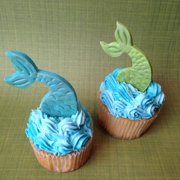 Mermaid Tail Fondant Cupcake Topper one from WellDressedCupcake