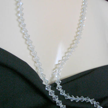 Art Deco Sterling Austrian Crystal Bead Necklace / Matinee / Filigree / Vintage Jewelry / Jewellery