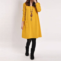 Fall Fashion; Long Sleeve A-Line Loose & Flowing Pocket Dress, Choose from  Colors, Sizes S to 5XL
