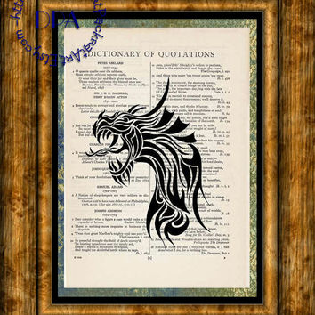 Black Silhouette Dragon Portrait Art - Vintage Dictionary Page Art Print Upcycled Page Print, Fantasy Art Print