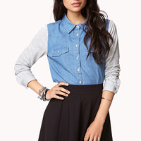 Knit Sleeve Chambray Shirt