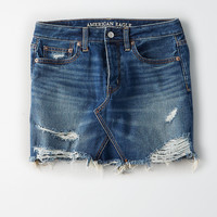 AEO Vintage Hi-Rise Dark Denim Skirt, Dark Wash