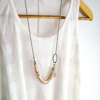 Enchant - boho chic ivory peach coral golden antique bronze long necklace