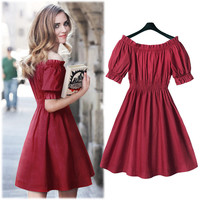Burgundy Off Shoulder Cuff Sleeve High-Waisted Skater Dress