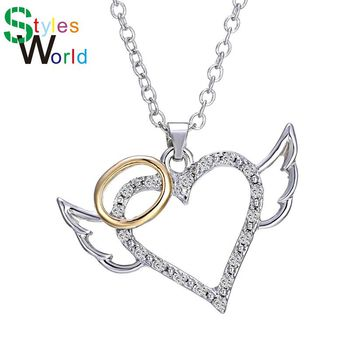 Fashion Angel Wings Love Heart Pendant Necklace Jewelry Fashion Chain Necklaces Pendants For My Cute Daughter