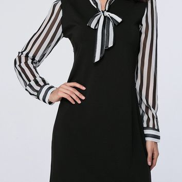 Casual Tie Collar Awesome Vertical Striped Shift Dress