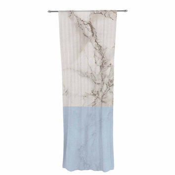 """Suzanne Carter """"Marble And Blue Block"""" Modern Gray Decorative Sheer Curtain"""