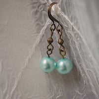 Handmade Light Green/Mint Glass Pearl Dangle Earrings with Antiqued Gold Brass Accents