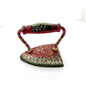 Antique Hand Painted Sad Iron Folk Art Calico Floral Red Silver Green White Cast Iron Vintage Collectible 2288