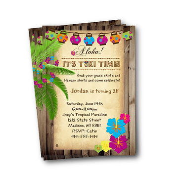Luau Invitation birthday hawaiin party tiki time tiki invite boy girl 21 18 any age printable hula party invitation luau party luau birthday