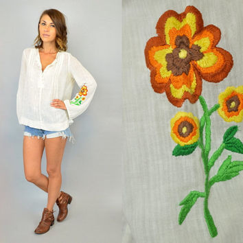 EMBROIDERED FLOWER hippie boho peasant billowy oversized GAUZE long sleeve blouse, extra small-large