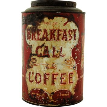 Vintage Breakfast Call Coffee Tea Advertising Tin Canister Large 3 Pounds Net Weight