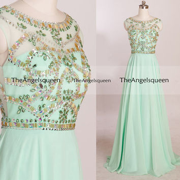 Custom made O Neck Rhinestones Beading Prom Dresses,long prom dresses,prom dresses,prom dress,prom dresses long,party dresses,evening dress