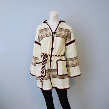 Vintage 1970's Oversized Hooded Cardigan Sweater with Bell Sleeves Off-White Brown Stripes Handmade Long Jacket Bohemian Boho Hippie Fall