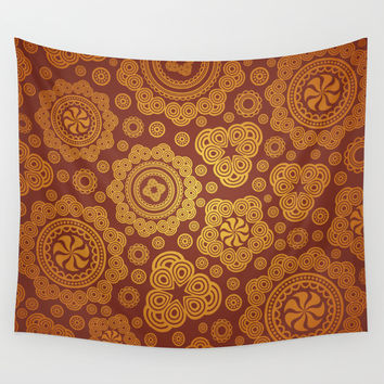 Warm Gold Paisley Pattern Wall Tapestry by All Is One