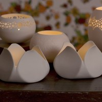 Tulip - porcelain candle holder. Modern porcelain table lighting. Designed and crafted by Wapa Studio
