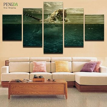 Home Decor Print Canvas Oil Painting Vintage 5 Panel Animal Tiger Wall Art Canvas Painting Wall Picture For Living Room PENGDA