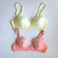 Vintage Pastel Pink and Yellow Bra Lot Size 36B/ Bullet Bra /Soft Cup Bra/ Burlesque Pinup