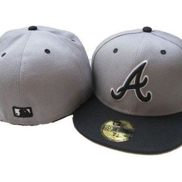 ICIKBE6 Atlanta Braves New Era MLB Authentic Collection 59FIFTY Hat Grey-Black