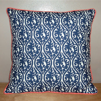 20x20 Navy Blue Damask Scroll Decorative Pillow Cover With Contrasting Piping - Same Fabric Both Sides