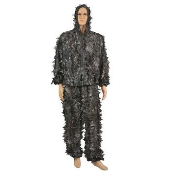 Mounchain 3D Python Pattern Jungle Leaves Hooded Hunting Sniper Cloak Military Camouflage Clothing