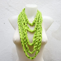 infinity scarf Finger Knitting Scarf -Green - Necklace scarf Winter Accessories-chain loop scarf