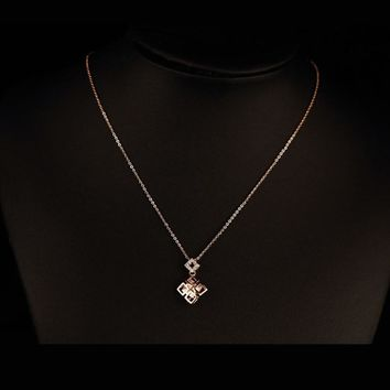 2016 Cubic zirconia pendants rose gold color thin necklaces fashion jewelry short necklace female gioielli jewel for women gifts