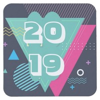 Happy New Year 2019 Square Paper Coaster