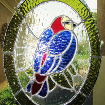 Stained Glass Bird Sun Catcher~ Light Catcher ~ Blue Bird ~ Gift  For Bird Lover ~ Nature Lover