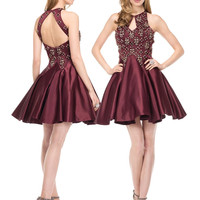 COLORS 1528 Burgundy Satin Homecoming Cocktail Dress
