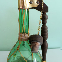 SALE! Vintage Green Glass Decanter With Wooden Handle, Mid Century Modern Tall Green Glass Genie Bottle
