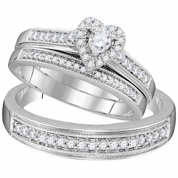 10kt White Gold His & Hers Round Diamond Heart Matching Bridal Wedding Ring Band Set 1/2 Cttw - FREE Shipping (US/CAN)