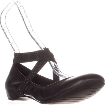 Kenneth Cole REACTION Gen-Eral Ankle-Strap Ballet Flats, Black, 9 US / 40 EU