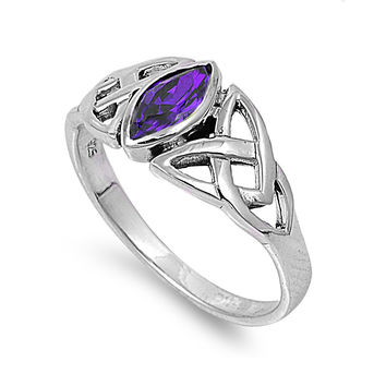 925 Sterling Silver CZ Wicca Pagan Triquetra Simulated Amethyst Ring 9MM