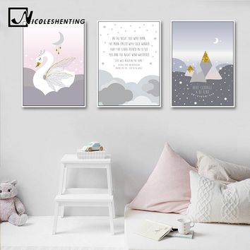 Baby Girl Nursery Wall Art Canvas Poster Cartoon Print Painting Nordic Kid Decoration Picture Children Bedroom Living Room Decor