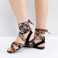 New Look Wide Fit Patterned Sandal at asos.com
