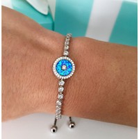 Evil Eye Bracelet | Good Luck Bracelet | Sterling Silver Tennis Bracelet