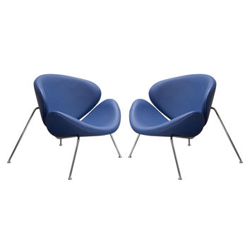 Set of (2) Roxy Accent Chair with Chrome Frame by Diamond Sofa - NAVY BLUE