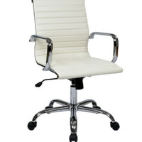 Modern Task Chair Dual Wheel Carpet Casters Office Furniture White Faux Leather