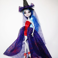 Halloween Dress and Hat for Monster High Doll Red and Purple