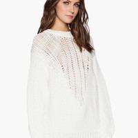 White Long Sleeve Knitted Sweater