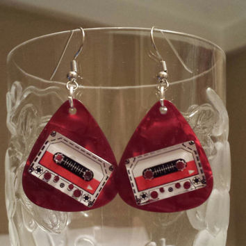 Guitar Pick Earring - Betsy's Jewelry - Cassette Tape - 80s Fashion - Retro
