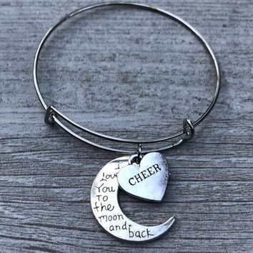 Cheer Love You to the Moon and Back Bangle Bracelet