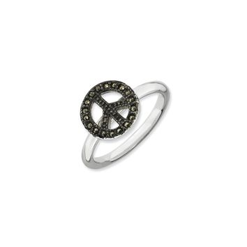 2.25mm Sterling Silver Stackable Marcasite Peace Sign Ring