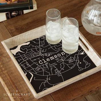 College Town Alumni Etched Map Serving Tray