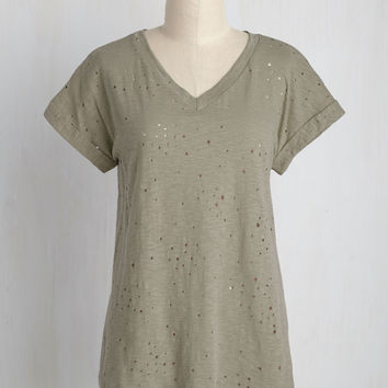 Can't Distress It Enough Cotton T-Shirt in Thyme | Mod Retro Vintage Short Sleeve Shirts | ModCloth.com